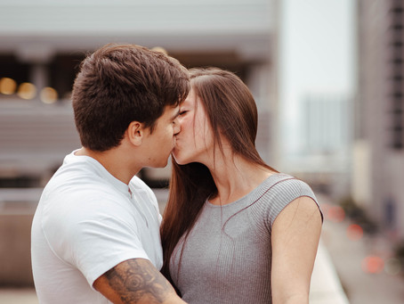 Downtown Houston Rooftop Couples Session