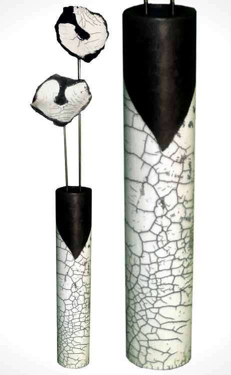 Zylinder mit Blüten, Raku-glasiert, 64 cm (klein)