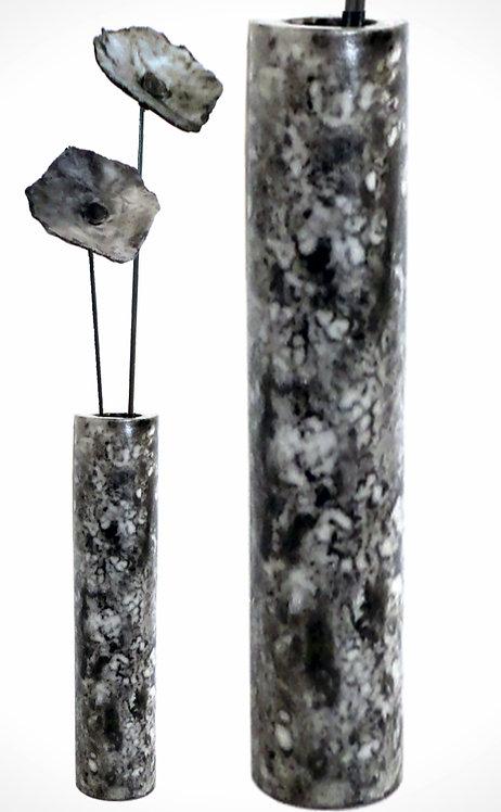 Zylinder mit Blüten, Raku-naked, 84 cm (mittel)