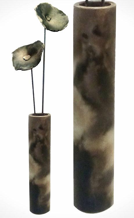 Zylinder mit Blüten, Rauchbrand, 84 cm (mittel)