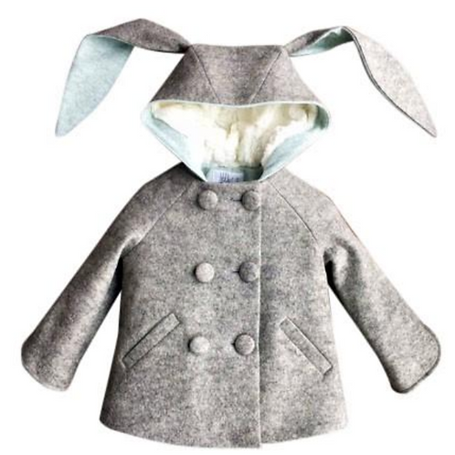 SIX BUTTON BUNNY COAT IN ICE BLUE