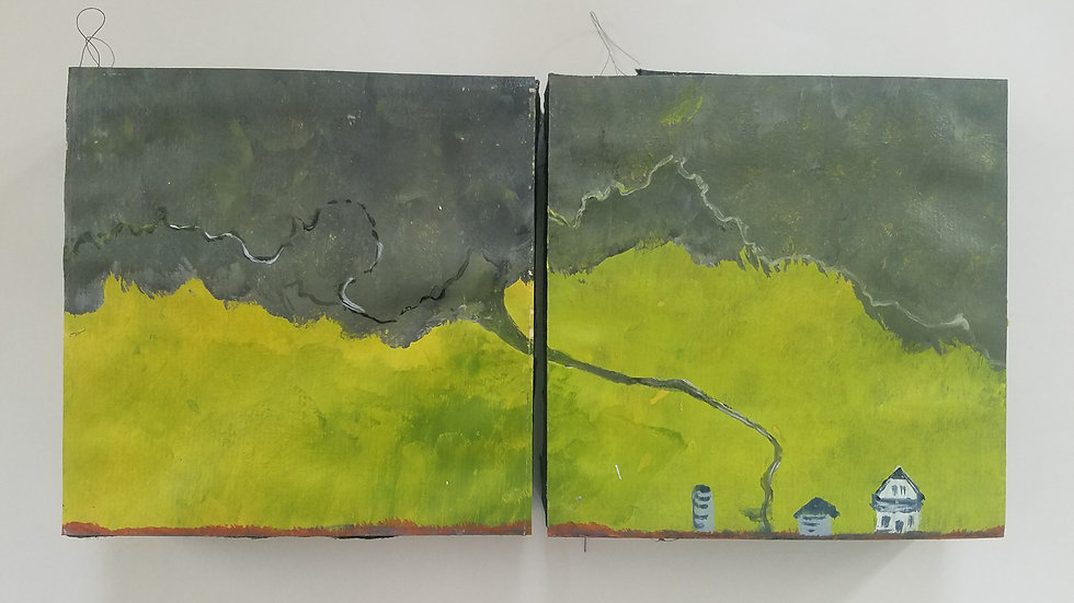Two 6x6 wrapped canvas paintings