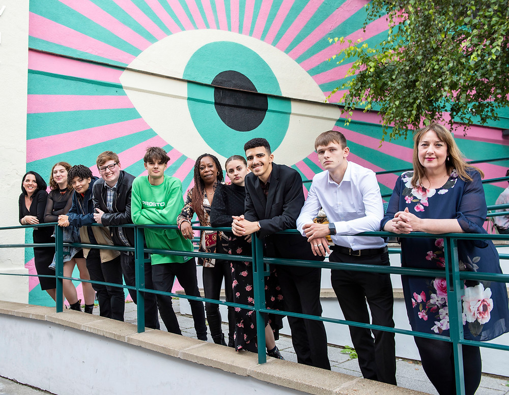 Natalie Baker-Swift with the young people who took part in the videos and Commissioner Henry