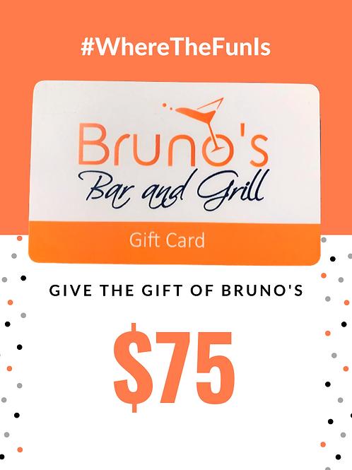 $75 Bruno's Gift Card