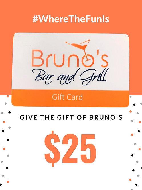 $25 Bruno's Gift Card
