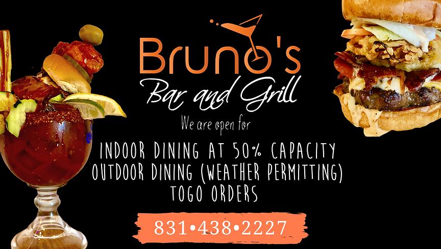 Bruno's Open for Indoor & Outdoor Dining