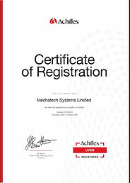 MechaTech Achilles UVDB Certificate of Registration