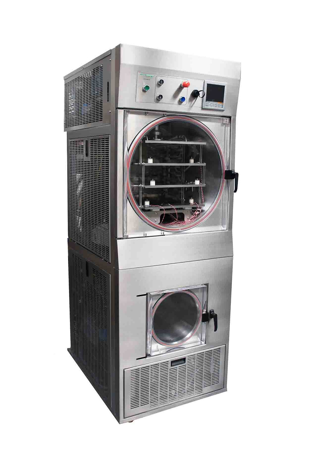 Pilot-scale LyoDry Maxi Freeze Dryer is available with either 3, 4 or 5 shelves, each measuring 360mm W x 480mm D, up to a total of 0.86m2 drying space.