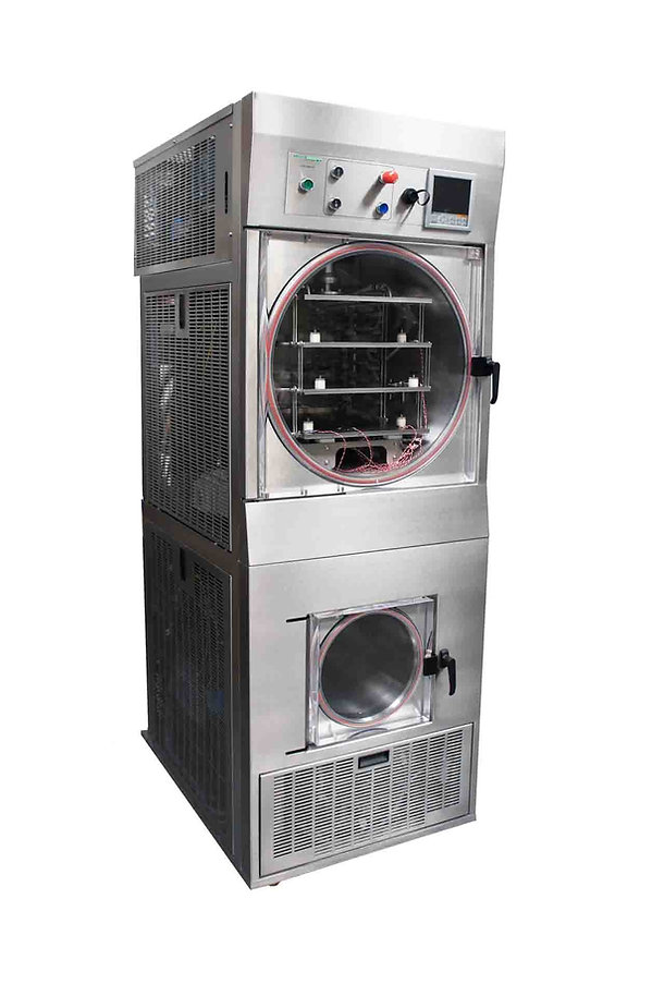 Pharmaceutical freeze dryer with pressure control and stoppering