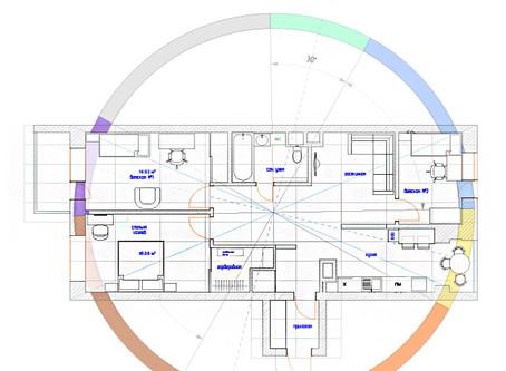 Коррекция и перепланировка трех-комнатной квартиры по Васту