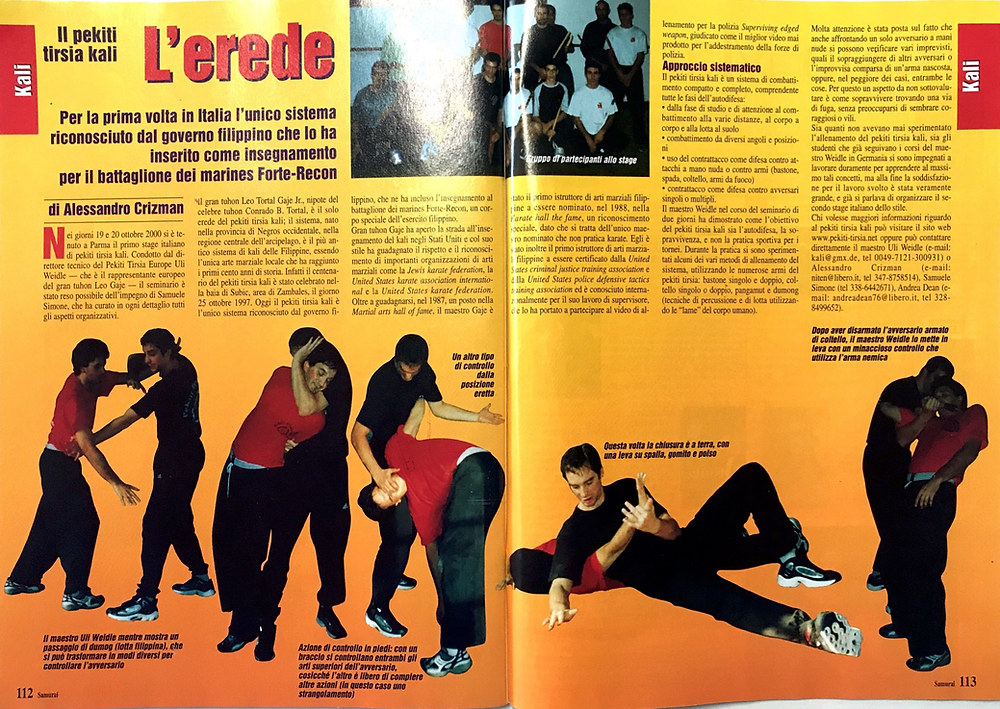 Samurai Magazine, June 2001, Italy, Pekiti Tirsia Seminar 2000 with Tuhon Uli Weidle