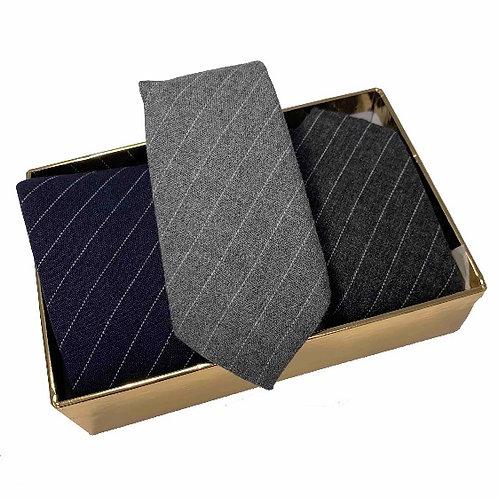 3 Wool Ties in a Golden Box