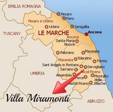 Location of Villa Miramonti in Le Marche Italy