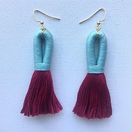 Pippa Tassel Earring in Light Blue/Burgundy