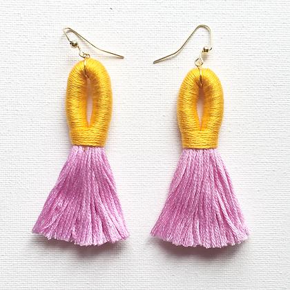 Pippa Tassel Earring in Light Orange / Pink