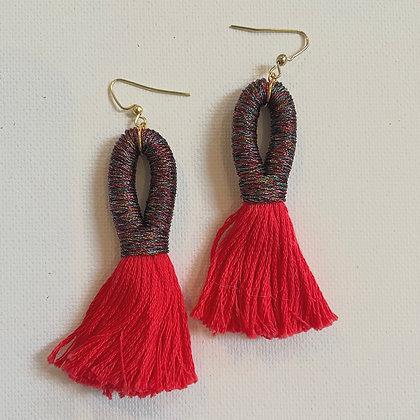 Pippa Tassel Earring in Multi / Red