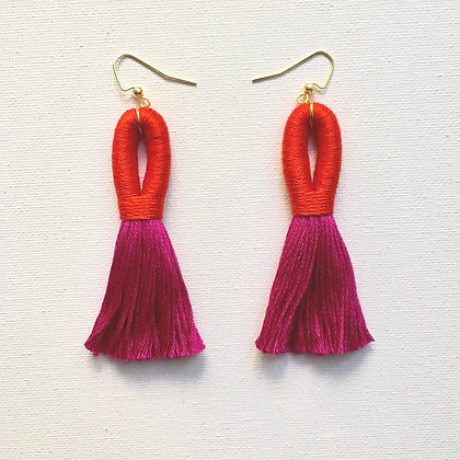 Pippa Tassel Earring in Red/Magenta