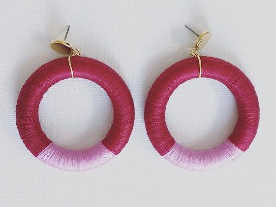Luci Hoop in Burgundy & Pink