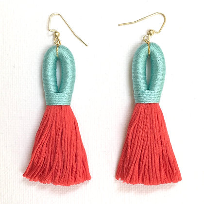 Pilla Tassel Earring in Mint / Coral