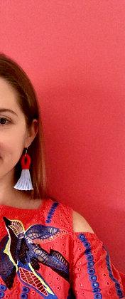 Pippa Tassel Earring in Red/Powder Blue
