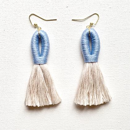 Pippa Tassel Earring in Powder Blue/Beige