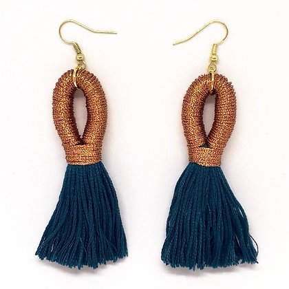 Pippa Tassel Earring in Copper/Teal