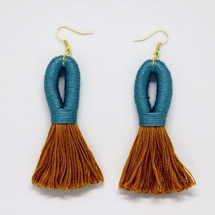 Pippa Tassel Earring in Blue/Brown