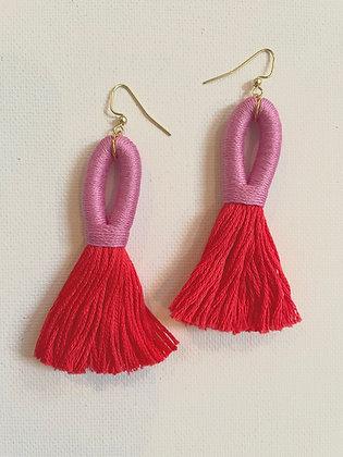Pippa Tassel Earring in Pink / Red