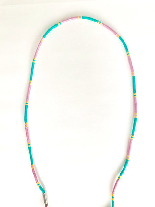 Pink teal yellow mask chain
