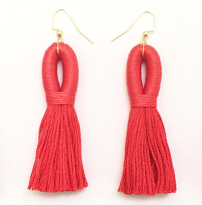 Pippa Tassel Earring in Red