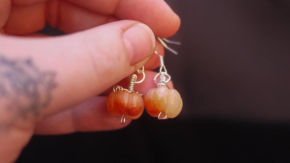 Pumpkin hook earrings