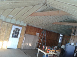 Unfinished cedar ceilng and walls