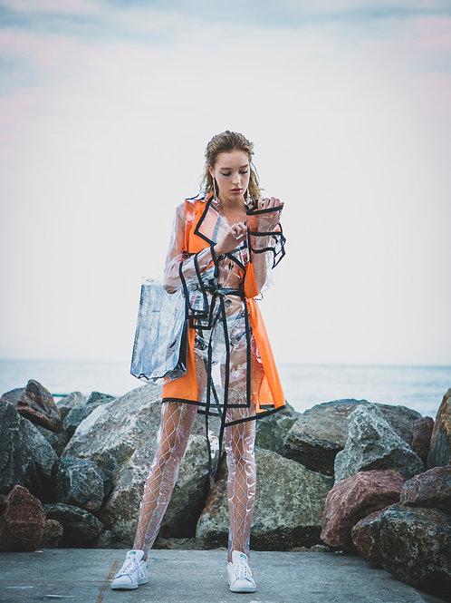Shorted orange raincoat. €112