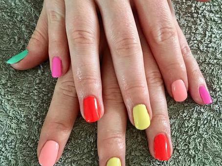 Multicoloured Gel Polish Manicured Nails