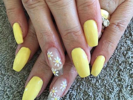 Acrylic Nails with Gel Polish Nail Art