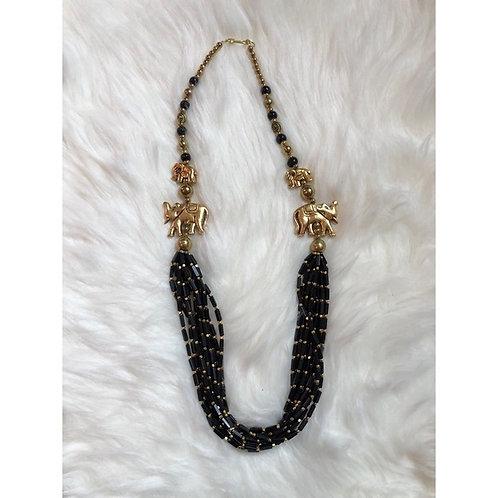Handmade Layered Necklace w/ Gold Elephants