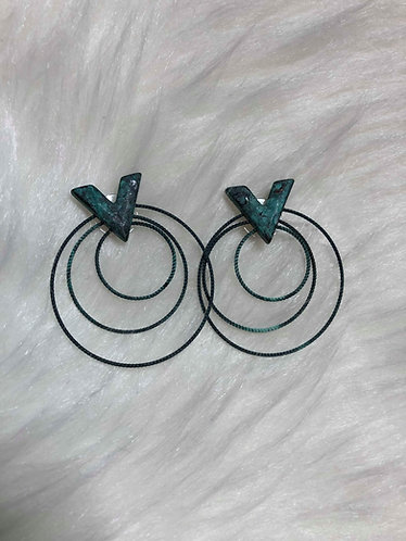 Patina Green Spiral Post Earrings