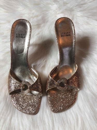 Stuart Weitzman Gold Glitter Mule Pumps Women's Size 9.5