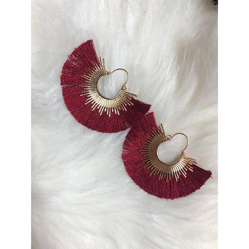 Red & Gold Tassel Earrings