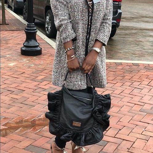 Valentino Garavani Black Leather Ruffle Handbag