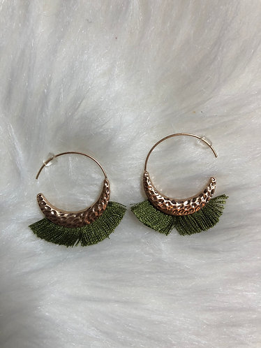 Green Hoop Tassel Earrings