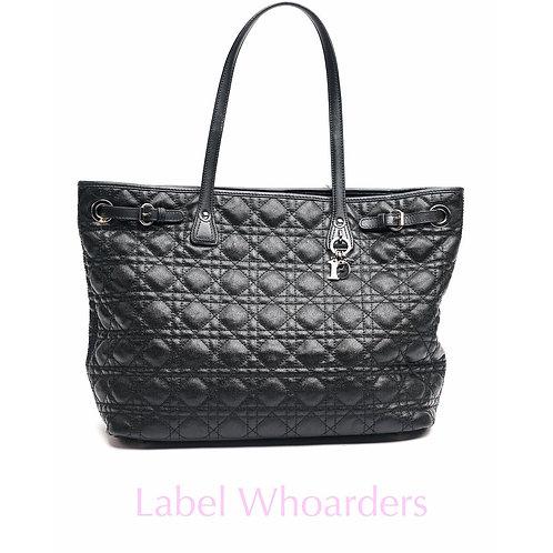 Dior Panera Black Leather Tote Handbag