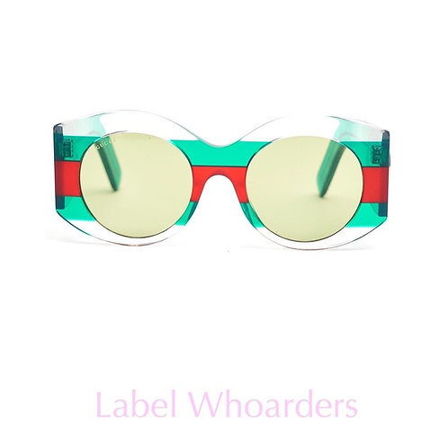 Gucci Womens Round Frame Acetate Clear Sunglasses OUT OF STOCK