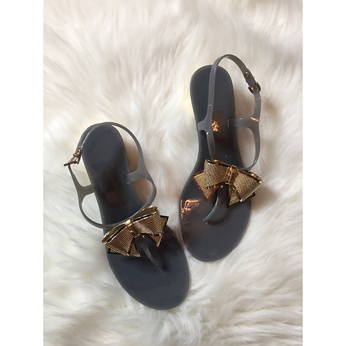 Salvatore Ferragamo Size 9 Jelly Thong Gray Sandals
