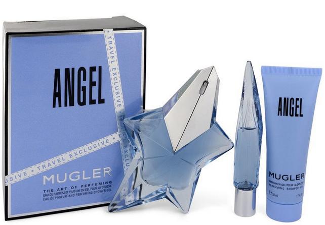 Angel 50 ml EDP Spray Refillable + 9 ml Mini EDP Purse Spray + 50 ml Shower Gel