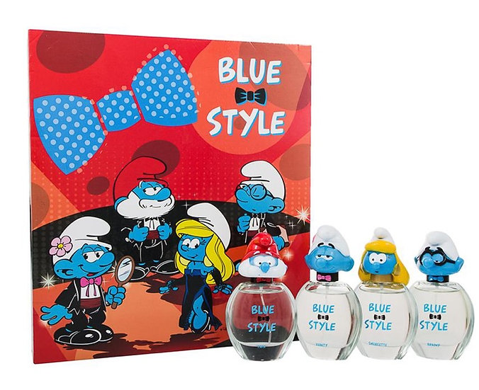 The Smurfs Blue Style Gift Set 4 x 50ml EDT Spray - Papa + Clumsy + Smurfette +