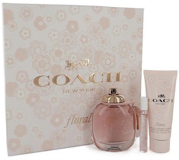 Coach Floral Gift Set 90 ml EDP Spray + 8 ml Mini EDP Spray + 100 ml Body Lotion