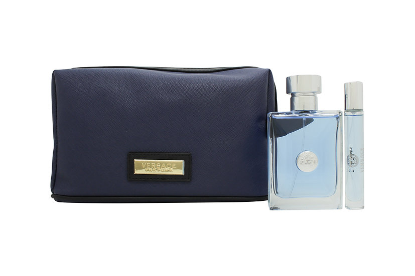 Versace pour Homme Gift Set 100ml EDT + 10ml EDT + Toiletry Bag