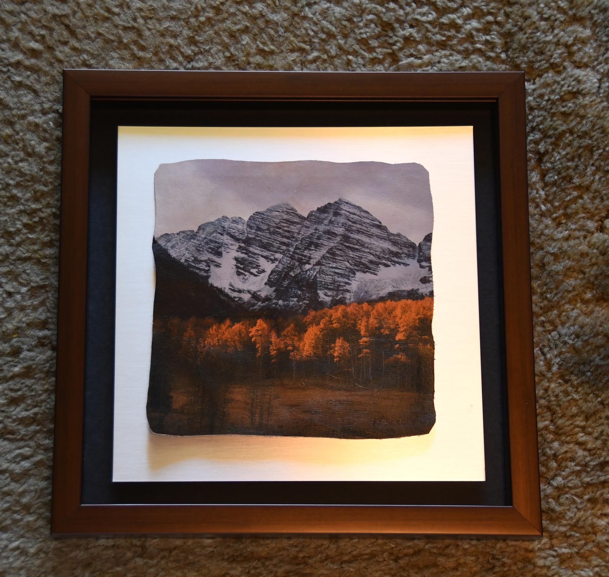 Maroon Bells 12x12 on leather