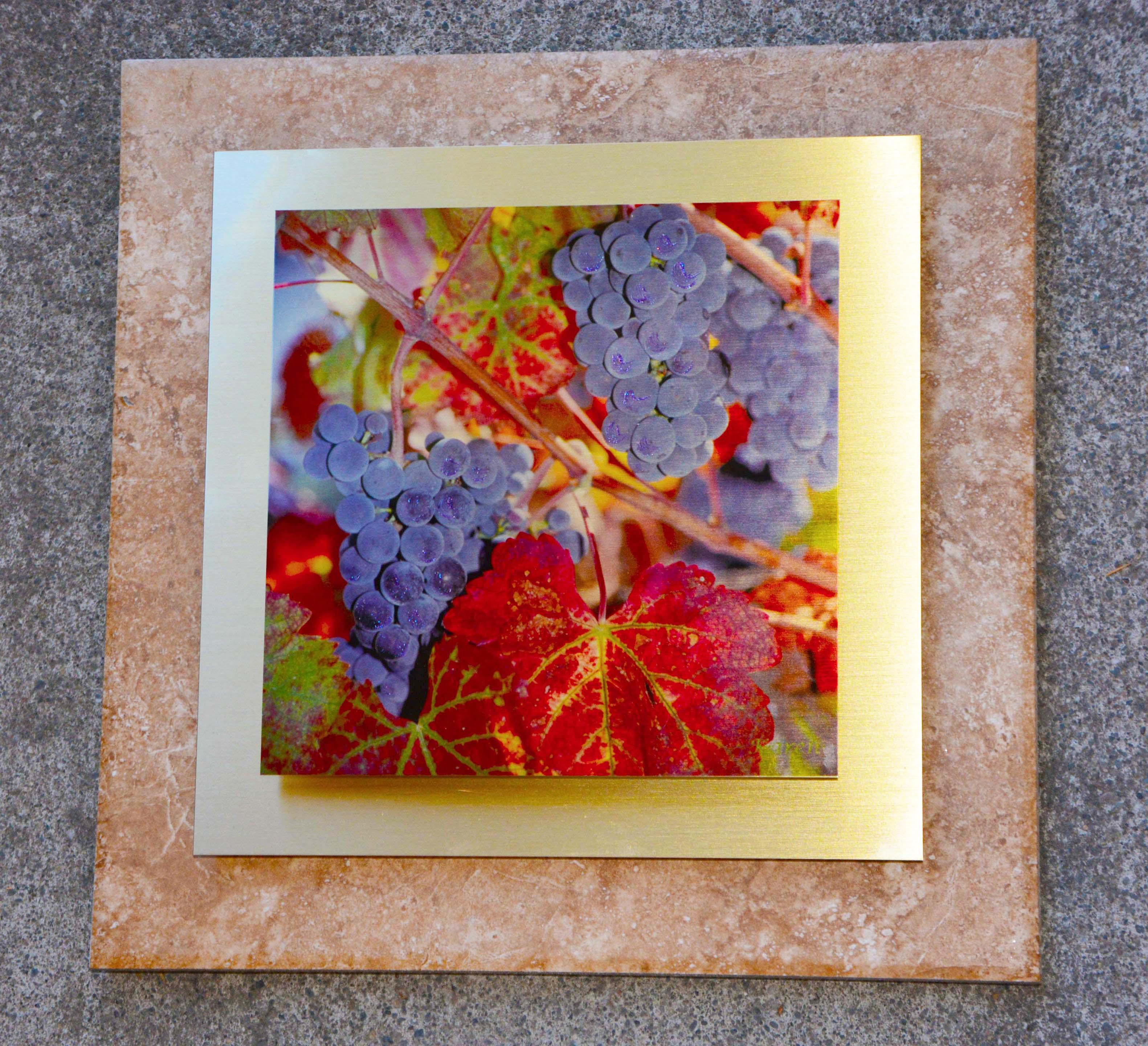 Blue Grapes Gold Metal on Porcelain